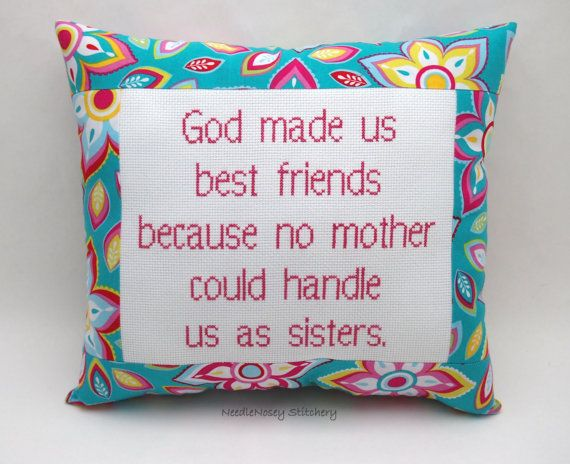 Funny Cross Stitch Pillow, Blue And Pink Pillow, Best Friend Quote on Etsy, £15.90