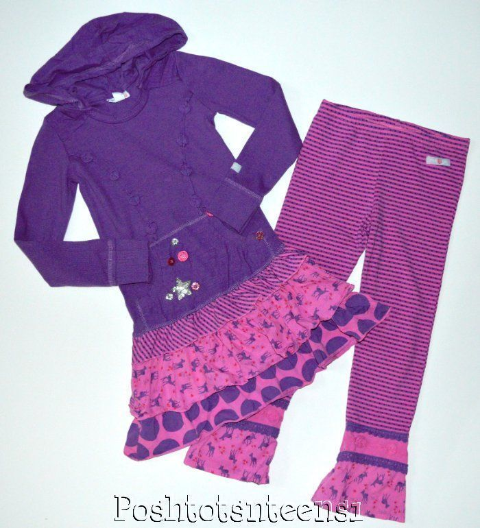 Naartjie Whimsical Sparkle Hooded Dress Sprinkle Stripe Pants 7 6 EUC sl1-2 #Naartjie