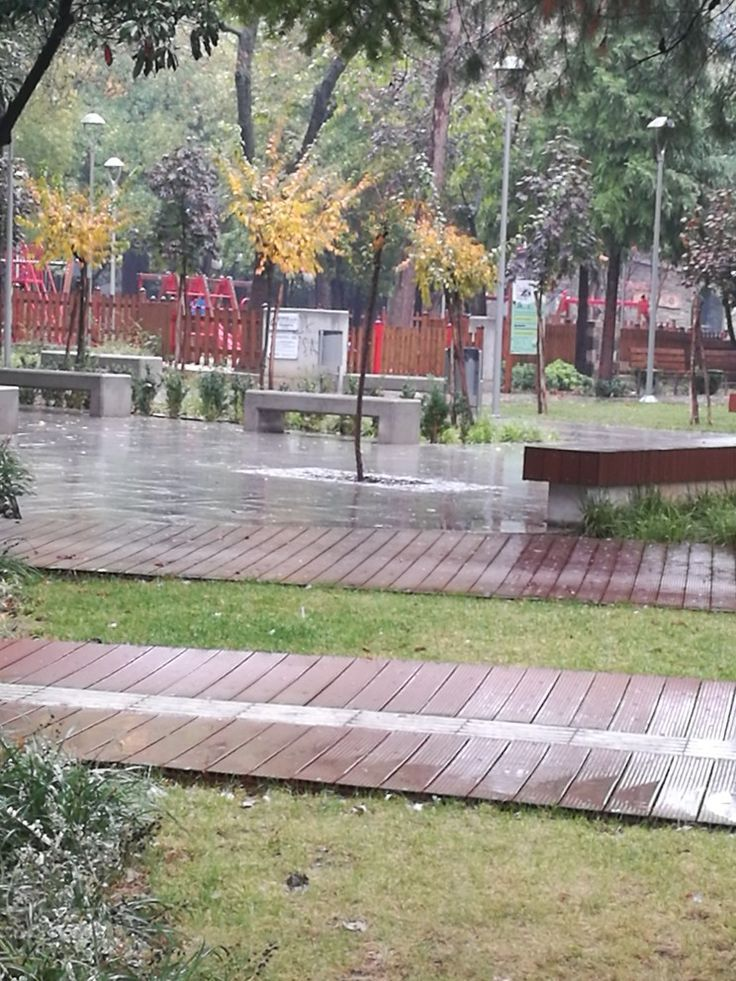 Rain. Playground in Edessa city.