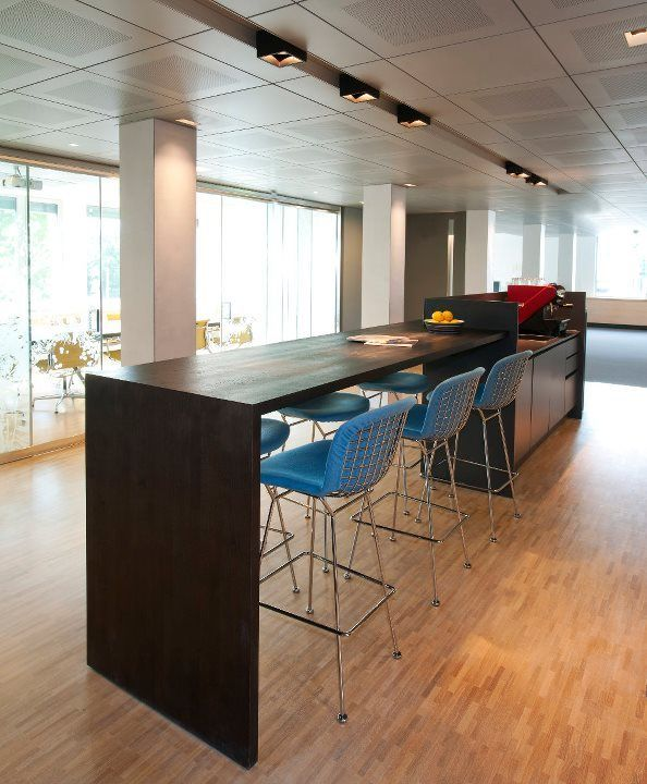 Knoll bertoia bar stools and Kreon ceiling and lighting systems