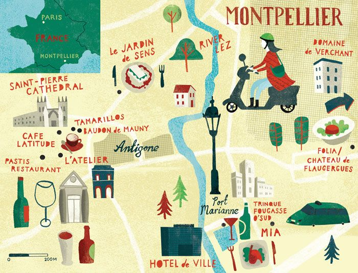 Gary Venn - Map of Montpellier for Conde Nast Travelet