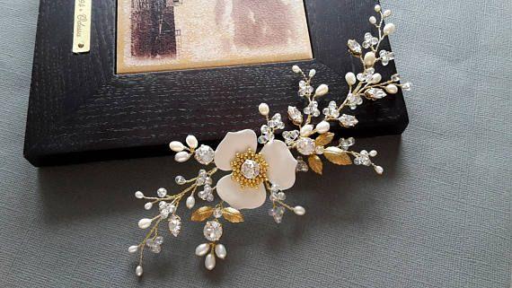 Bridal Headpiece Gold hair vine Wedding Hair Vine Bridal Hair