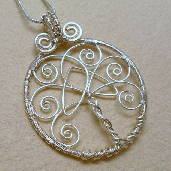 Tree of Life Pendant, silver tree of life pendant with celtic trinity knot, wire…