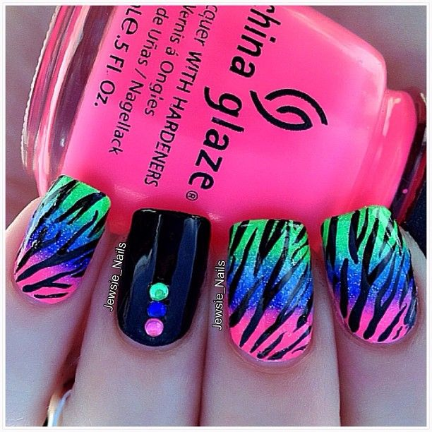 Zebra print on bright gradient with matching studs.