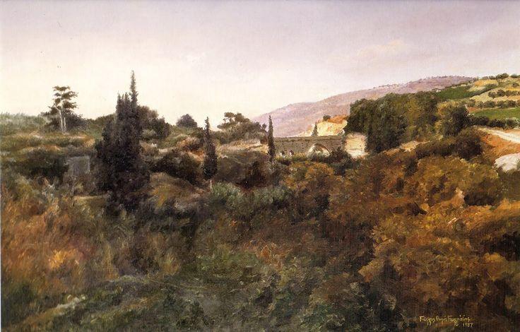 Γιώργος Θωμά Γεωργιάδης 'Αγία ειρήνη' (μετόχι Νίβα) Λάδι. 60Χ80 εκ.
