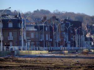 Villers-sur-Mer - Côte Fleurie : villas et plage de la station balnéaire