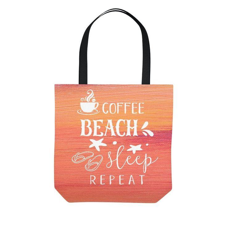 Coffee Beach Sleep Repeat Orange Tote Bag