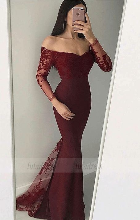 mermaid off the shoulder long sleeves black prom dress with