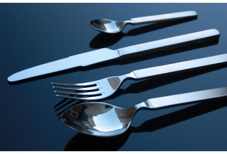 """Alessi Dry Cutlery. The """"Dry"""" series was the original Alessi pattern. It has innovative shape and resolute style, extreme manageability and an excellent finish.   http://cutleryandplates.co.uk/cutlery/alessi/alessi-dry.html"""