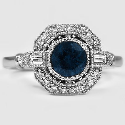 18K White Gold Sapphire Ostara Diamond Ring // Set with a 5.5mm Premium Teal Round Sapphire #BrilliantEarth