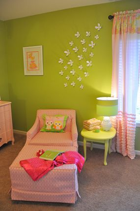 pink and green baby girl nursery decorating tips chair ottoman