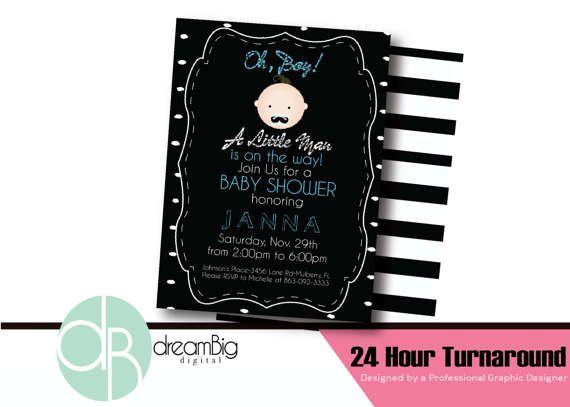 Baby Shower Mustache Baby Digital Invitation Baby Shower