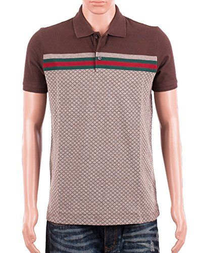 a6ad2283 Gucci Mens Polo Shirt Brown with Diamante Print and Front Stripe Signature ( XL)