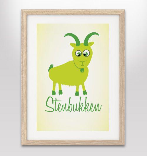 """Plakat med stjernetegn """"Stenbukken"""" - FLERE FARVER/VARIANTER"""