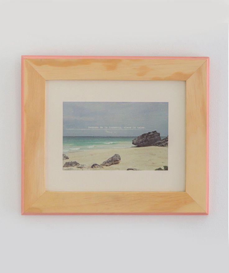 """""""Después de la tormenta, viene la calma"""" - Cuadro de mar, marco de madera rosa. $49.000 COP. Cómpralo aquí--> https://www.dekosas.com/productos/decoracion-hogar-vida-util-cuadro-de-mar-rocas-detalle#"""