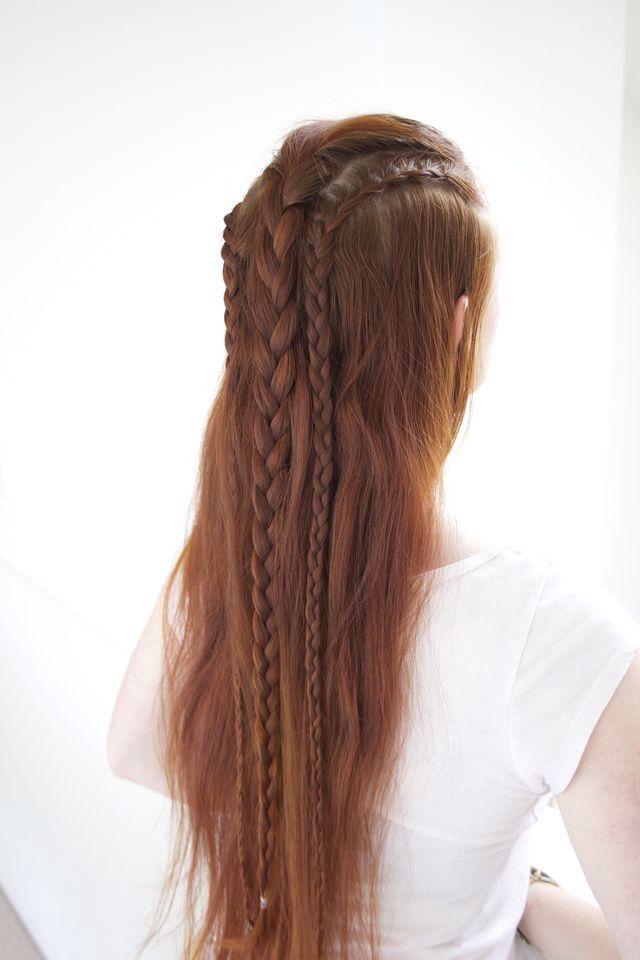 English braid and french lace braids    Trança inglesa e tranças metade francesas
