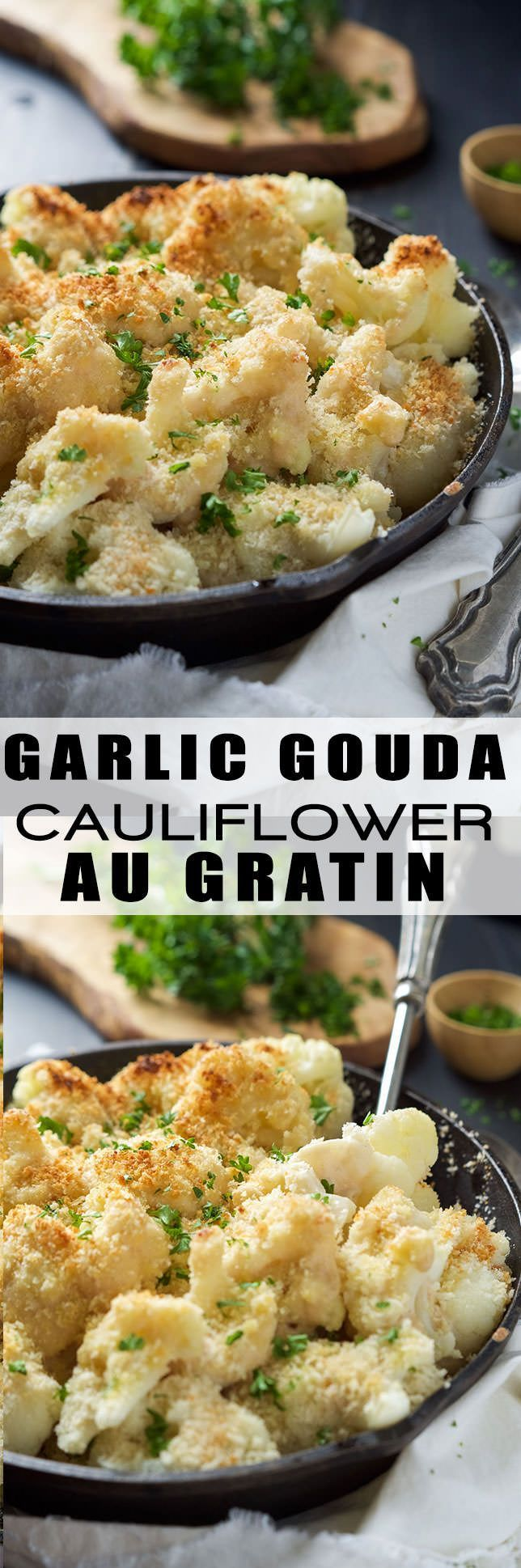 Garlic Gouda & Parmesan Cauliflower Au Gratin is the perfect side dish for your holiday table but easy enough for any weeknight dinner! Tender cauliflower blanketed in a double cheese sauce and crunchy panko topping! #Skinny4LifeEats™