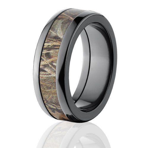 RealTree Rings, Camouflage Wedding Bands, Black Zirconium Ring, RealTree Max4 Camo Bands