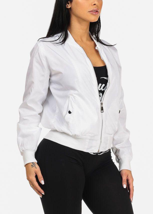 Stylish White Silver Zip Up Long Sleeve Lightweight Bomber Jacket