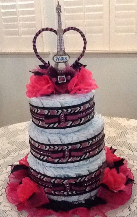 My First Diaper Cake: Paris Themed Baby Shower.