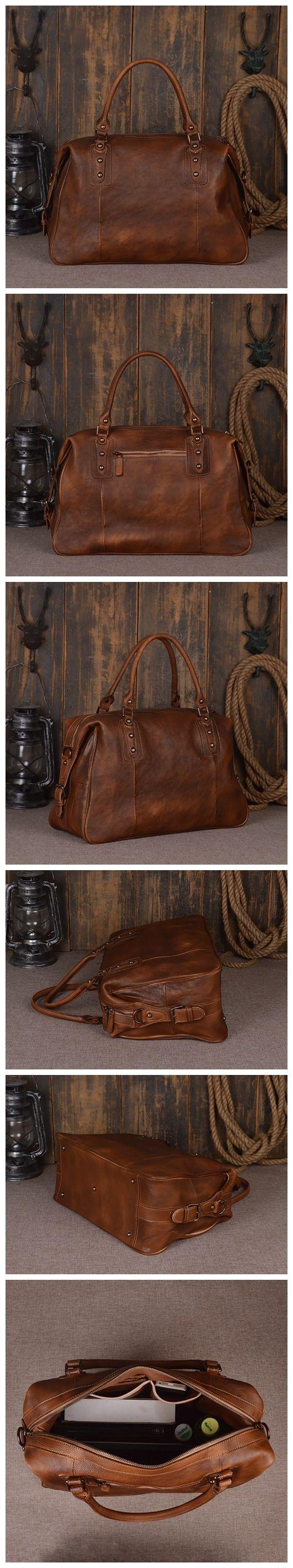 Handmade Full Grain Leather Travel Bag, Leather Duffle Bag, Men Tote Bags, Men's Fashion