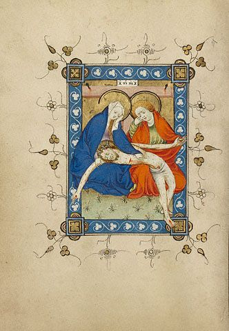 The Lamentation (Getty Museum).     Masters of Dirc van Delf   Dutch, Utrecht, about 1405 - 1410   Tempera colors, gold leaf, and ink on parchment   6 1/2 x 4 5/8 in.   MS. 40, FOL. 68V