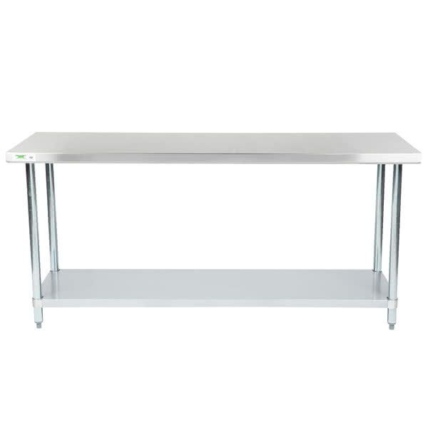 """Regency 24"""" x 72"""" 18-Gauge 304 Stainless Steel Commercial Work Table with Galvanized Legs and Undershelf"""