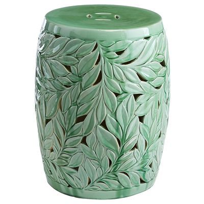 Named for a town in Normandy, France, our Devereaux ceramic stool brings a certain <i>je ne sais quoi</i> to your garden. Its hand-carved leaf design has a distinct woodland vibe, with a fresh green colorway and reflective glaze to civilize it. Place it in your backyard for quiet moments, or use it as extra indoor seating in a pinch.