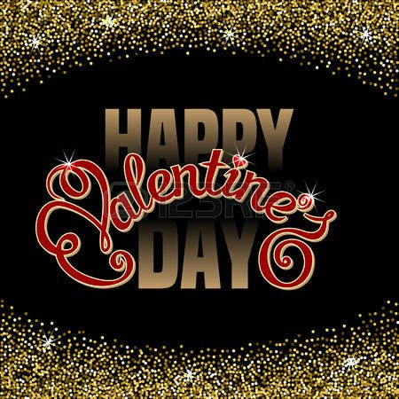 Happy Valentines Day text message in sparkling confetti frame on black background. Hand drawn lettering. Valentines day card template Vector