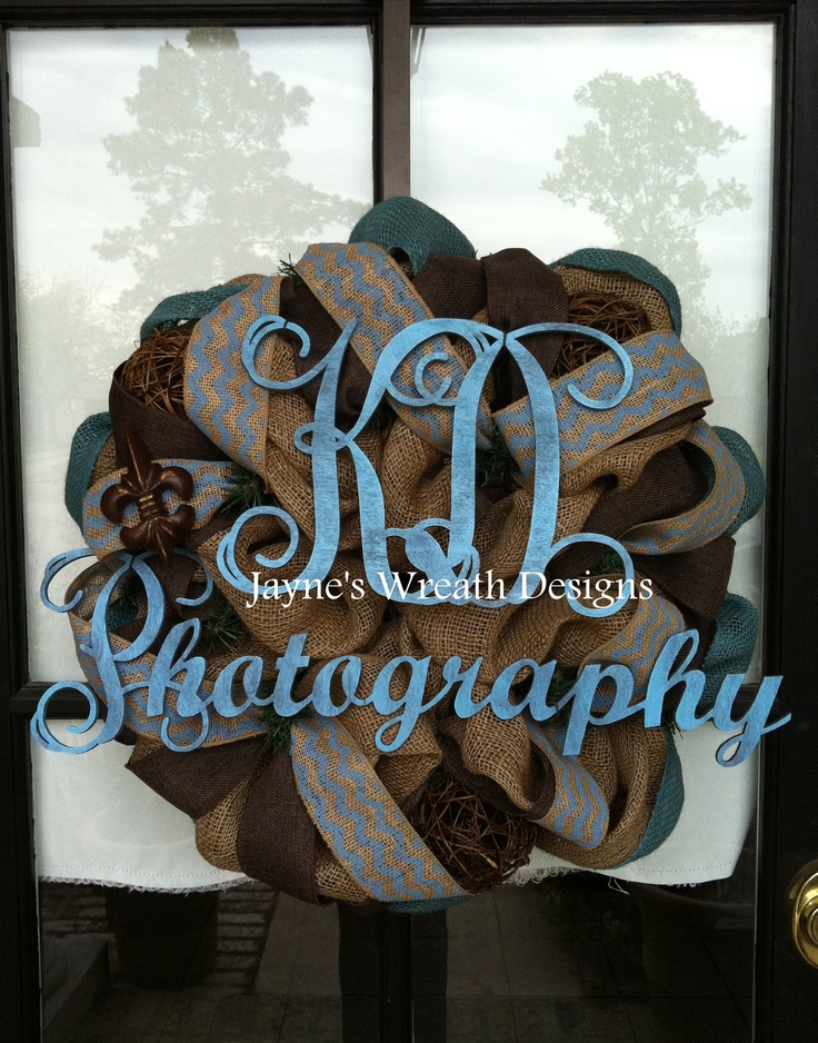 Burlap wreath in tan, brown, and cornflower blue, and chevron burlap ribbon, monogram letters/name for photographer
