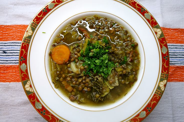 LoveBites Puy Lentil and Savoy Cabbage Soup with Lardons - healthy and happy, and a great recipe if you're doing the Wild Rose Detox