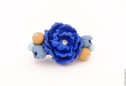 Броши ручной работы. Брошь синий цветок. Мастерская Лункиной Надежды. Ярмарка Мастеров. Брошь из фимо, для рубашки, миниатюрные цветы