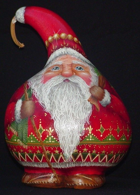 witch gourds decorative | Jolly Ol Elf Hand Painted Santa Gourd by ... | Gorgeous Gourds....