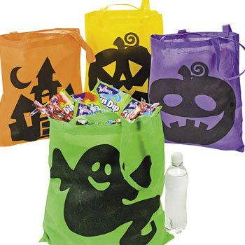 """Amazon.com: 4 Large Neon HALLOWEEN Trick or Treat TOTES/BAGS/PARTY FAVORS/Goodie Bags/POLYESTER/GHOST Pumpkin WITCH/ICONIC/16"""" X 16"""": Everyt..."""