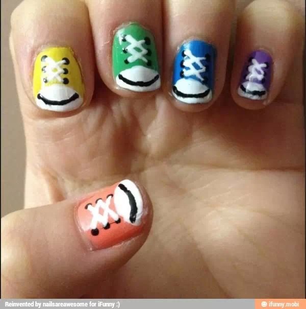 21 best nails for kids images on pinterest cute nails pretty really cool convers sneaker nail art prinsesfo Images