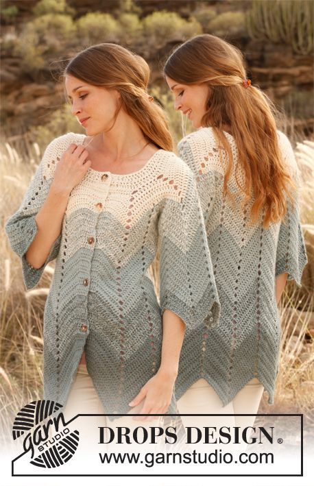 Crochet DROPS jacket with zig-zag pattern in 2 strands Alpaca. Size: S - XXXL. ~ DROPS Design