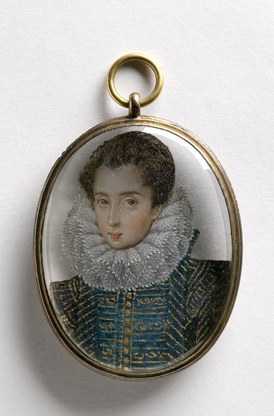 Miniature, 1590-1600, English, Oil on rock crystal with silvergilt fittings