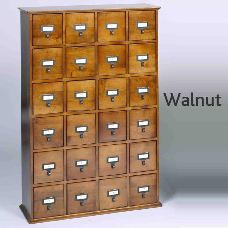 Library Catalog Media Storage Cabinet - 24 Drawer - Stores 288 Cds Or Dvds - Walnut