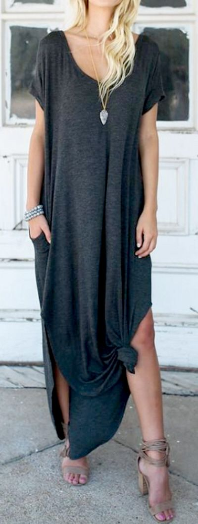 CASUAL MAXI DRESS - Front Knot Shirt Dress with Pockets - Sophisticated & comfy cotton asymmetric hem maxi dress. Cute for work, semi formal occasion, dinner date or party. Skirts and sneakers outfit ideas, boho fashion, casual women's outfits for work school or wedding, chic street style, timeless classic style, bold fashion statement, edgy summer outfits, edgy bold fashion style, fashion designing ideas, fashion designer, homecoming dresses, girls night out outfit ideas. Affiliate Link.