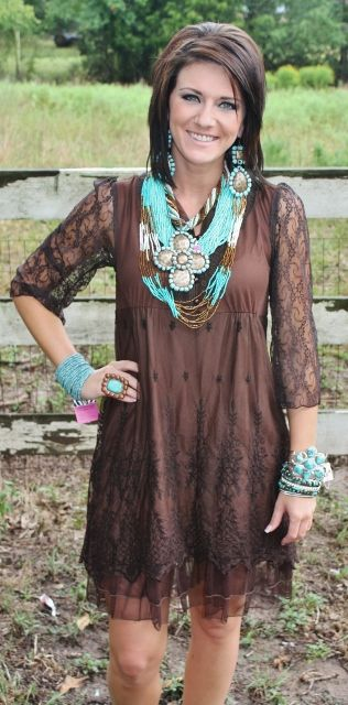 love this!Brown Dresses, Cowgirls Style Dresses, Chocolate Brown Dress, Giddy Up Glamour, Cute Dresses, The Dress, Chocolates Brown Lace Dresses, Turquoise Jewelry, Country Girl Dress