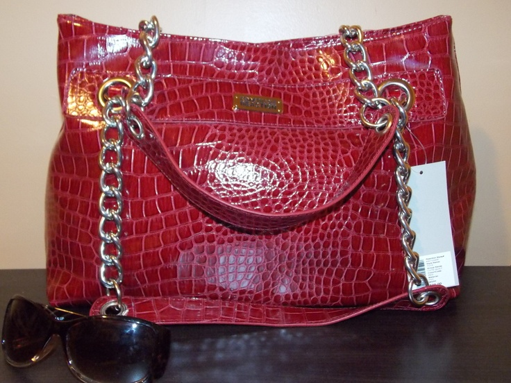 Designer Name Brand Handbags - D & L Fashions...Kenneth Cole Red Crocodile Print Tote with silver accents...Love this purse