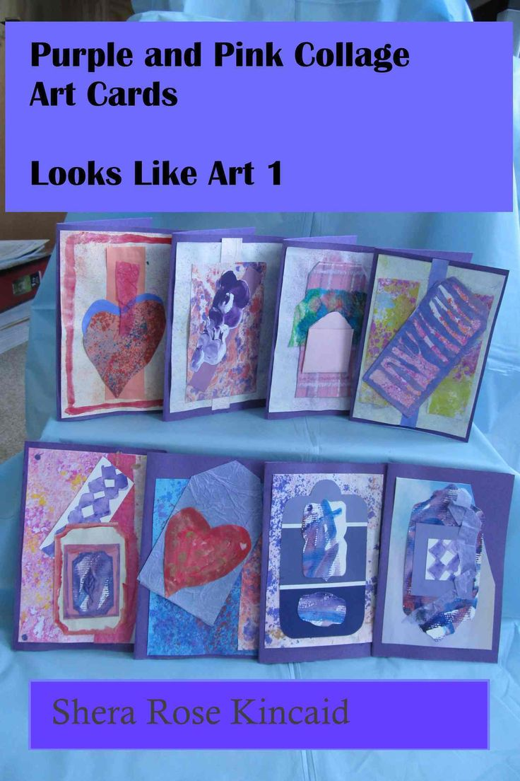 instructions how to make 8 purple and pink art cards with. Black Bedroom Furniture Sets. Home Design Ideas