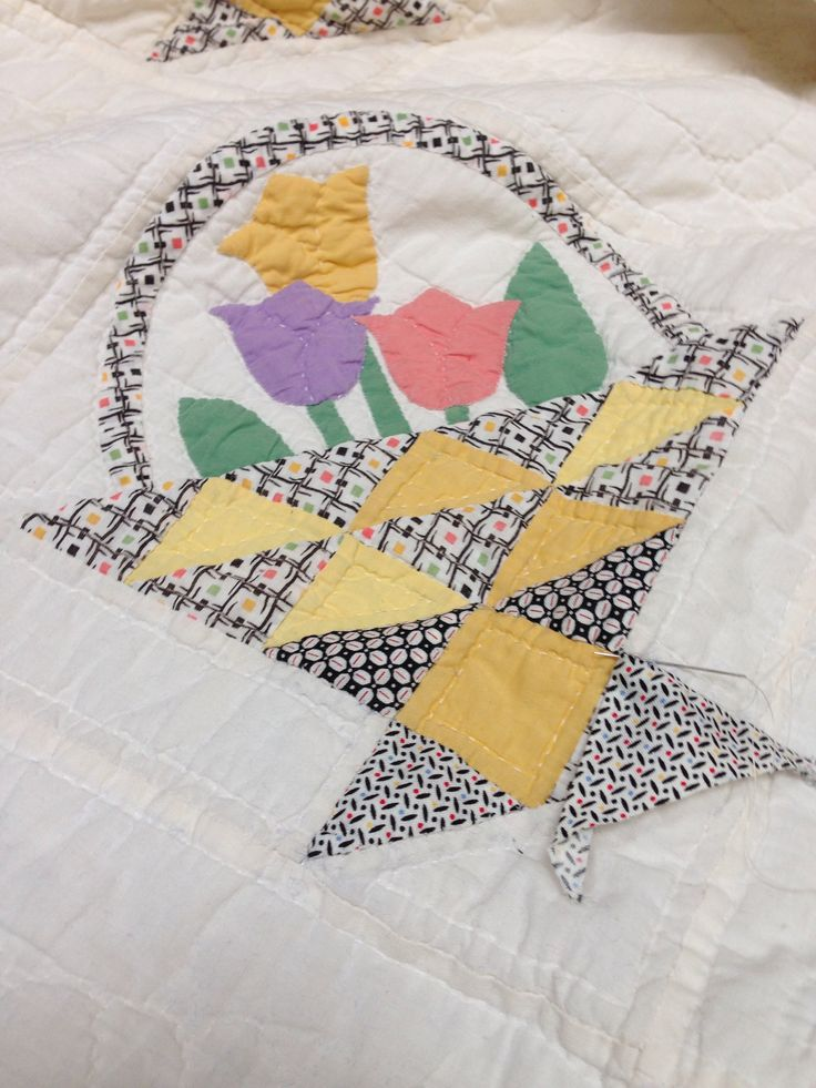 Repairing a sweet 30's quilt today