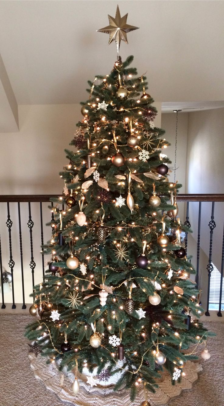 Gold bronze brown cream silver metallic christmas Brown and gold christmas tree