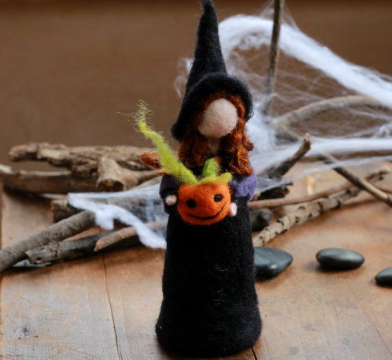 Needle Felted Halloween Witch Pumpkin Waldorf by CloudBerryCrafts, $33.00