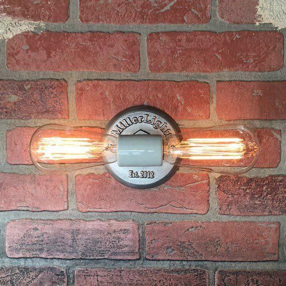 Double bulb industrial wall sconce, simplistic minimalist light - Chambre De Commerce Franco Suedoise