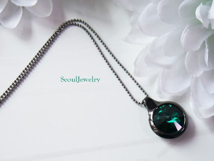 Black Necklace with Emerald by SeoulJewelry on Etsy