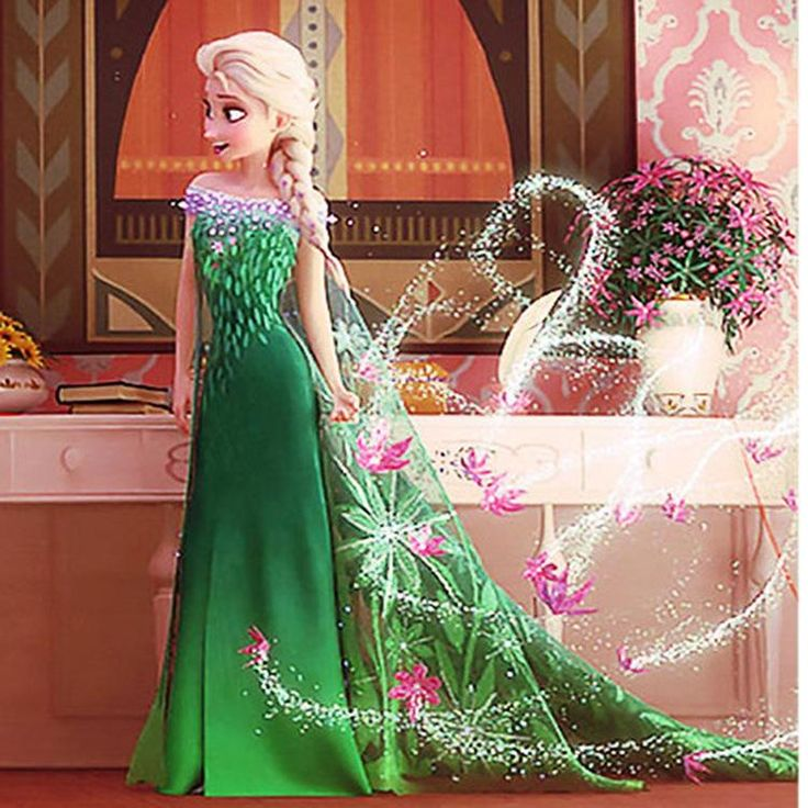 Beautiful Girl Frozen Fever Elsa Green Flower Mesh Princess Party Dress Cartoon Cosplay Dance Costume Dress Colorful Floral Gauze Cape From Megagoods, $24.09 | Dhgate.Com