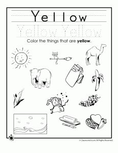 yellow colors 231x300 learning colors worksheets for preschoolers - Color Activity For Kindergarten