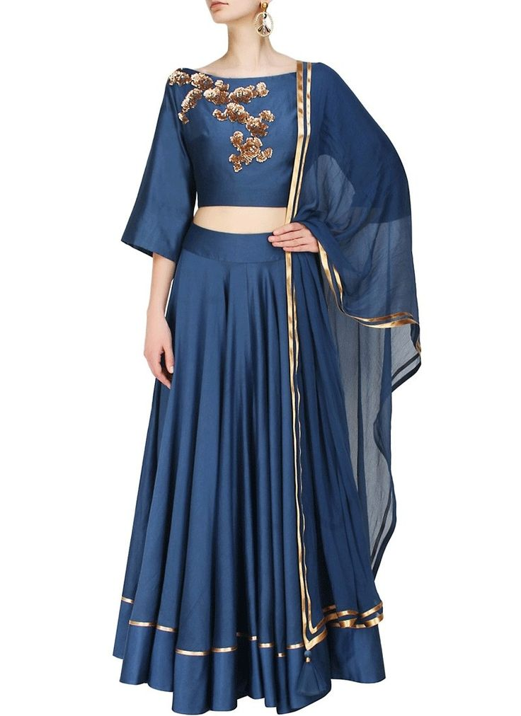 We unfurl our the intricacy and exclusivity of our creations highlighted in this style of a gorgeous Navy Blue Dupioni Raw Silk Readymade Lehenga Choli. Beautified & stylized with Lace work to give you an attractive look.